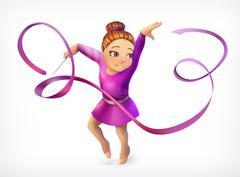 Little gymnast, vector icon Stock Illustration