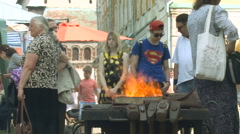 Traditional Skills Exhibition. Blacksmith Work Place. Open Fire Stock Footage