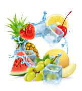 Multifruit with ice cubes and water splash, vector Piirros
