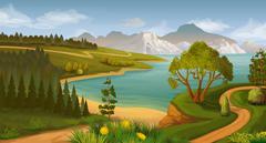Nature landscape, sea bay, vector background Stock Illustration