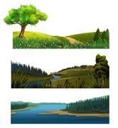 Nature landscape, vector set Stock Illustration