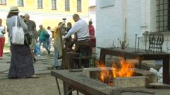 Traditional Skills Exhibition. Blacksmith Performance Stock Footage