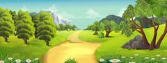 Nature landscape, rural road, vector background Stock Illustration