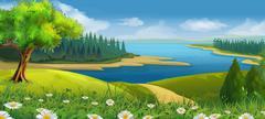 Nature landscape, stream valley, vector background Stock Illustration