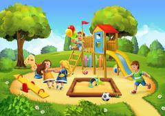 Park, playground vector background Stock Illustration