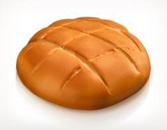 Round bread, vector icon Stock Illustration
