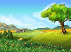 Rural landscape, nature, summer, vector background Stock Illustration