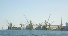 Ship Building yards in Kobe Japan large cranes and heavy industry equiptment  Stock Footage