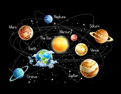 Solar system, isolated on black background vector Piirros