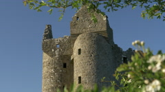 Castle Ruins with Spring Blossom Stock Footage