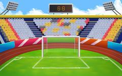 Stadium, football goal vector background Stock Illustration
