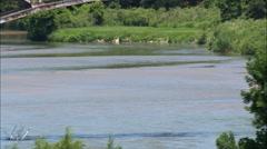 Three Bridges Across The Niobrara River Stock Footage