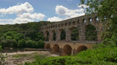 Landmark Tourist Attraction Monument Pont Du Gard In Southern France - stock footage