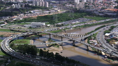 Heavy Traffic Either Side Of The Pinheiros River Stock Footage