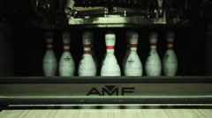 Lifting and lowering of the Bowling Pins on the lane Stock Footage