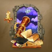 Window in the castle, magic and astrology vector illustration Stock Illustration