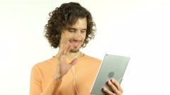 Online Video Chat, Conference via Tablet by Man with Curl Hairs - stock footage