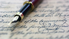 Fountain pen on old letter Stock Footage