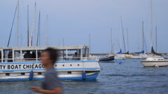 Lake Michigan Party Boat Chicago Stock Footage
