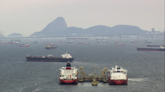Oil Terminal And Tankers In Guanabara Bay Stock Footage