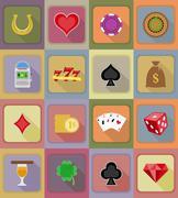 Casino objects and equipment flat icons illustration Stock Illustration