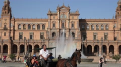 Horse Drawn Carriage At Spanish Palace Stock Footage
