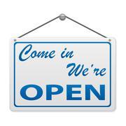 Open sign board Stock Illustration