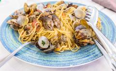 Real Spaghetti alle vongole in Naples, Italy - stock photo