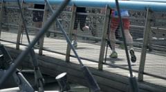 Editorial: People legs racing in marathon, super slow motion Stock Footage