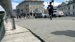 Editorial: People racing in marathon, super slow motion Stock Footage