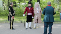 Street Actors Dressed As Residents Of Past Centuries Stock Footage