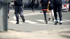 People racing in marathon, super slow motion 240fps Stock Footage