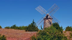 Windmill On A Hilltop In France French Landscape At Sunset Stock Footage