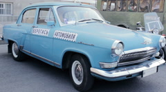 Blue Vintage USSR Car Parked On The Street Stock Footage