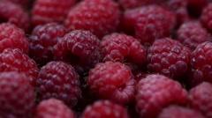 Ripe raspberry background. Closeup berries - stock footage