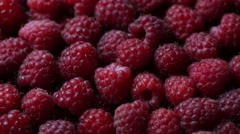 Rotating ripe raspberry. Turning closeup berries Stock Footage