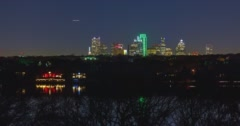 Dallas Across White Rock Lake at Night Stock Footage