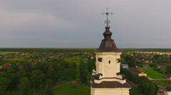 Aerial View. Church of the Assumption of the Blessed Virgin Mary in Budslau. - stock footage