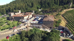 4K aerial view pan around castle di amorosa napa valley winery Stock Footage