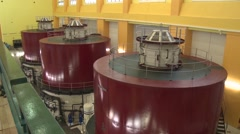 Electric turbines inside a dam Hydroelectric Stock Footage