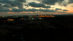 Aerial view of industry estate lighting at dusky Stock Footage