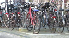 Bikes parked in amsterdam Stock Footage