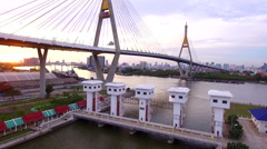 Aerial view of bhumibol 1 bridge landmark of bangkok thailand Stock Footage