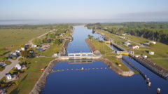 Early morning view above Ortorno Locks on Caloosahatchee River Stock Footage