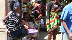 People in a market Cape Verde Africa Stock Footage
