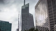 Time laps Skyscraper reflection of clouds Stock Footage