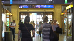 Many travelers in the lobby of the railway station in Helsinki. Time Lapse Stock Footage