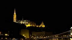 Matthias Church in Budapest. Night. Stock Footage