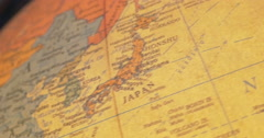 Vintage Globe Lamp Spins From Japan Across Europe and Lands in America Stock Footage