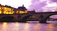 Twilight view of the Seine River in Paris Stock Footage